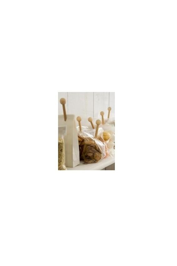 'Pince-mi' bois naturel pour fermer sachets/ par 5